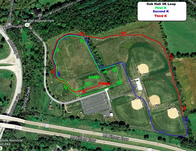 3k course map - Oak Hall Park